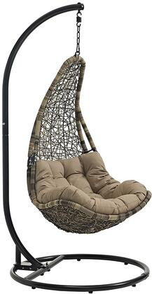 Modway Abate Collection Outdoor Patio Hammock Swing Chair with Stand, Powder-Coated Steel Frame, Polyester Cushion and Synthetic Rattan Weave Material in