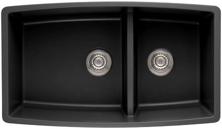 "Blanco 4413XX Performa Siligranit II 33"" Undermount Double Bowl Sink, Heat Resistant up to 536 Degrees, Unique Reversible Shape, Low 6"" Divider:"