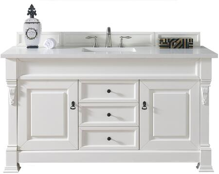 "James Martin Brookfield Collection 147-114-5341- 60"" Cottage White Single Vanity with Two Soft Closing Doors, Three Soft Closing Drawers, Backsplash, Hand Carved Filigrees and"