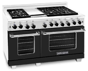 "American Range ARR486GDBK 48"" Heritage Classic Series Gas Freestanding Range with Sealed Burner Cooktop, 4.8 cu. ft. Primary Oven Capacity, in Black"