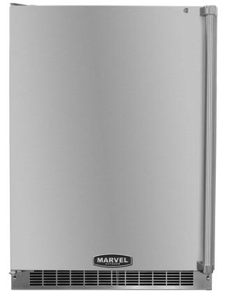 """Marvel 6AROM-SS-B-L 24"""" 6.1 cu. ft. Capacity Compact Outdoor Refrigerator, Full Auto Defrost, Professional Style Full-Length Door Handle, and Door Lock, in Stainless Steel"""