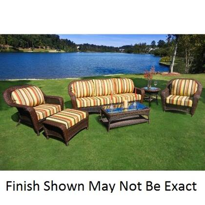 Tortuga LEX-65 Sea Pines 6 Pieces Seating Set With Sofa, Powder Coated Aluminum Frames, Outdoor All Weather Wicker, 100% Spun Polyester Cushions & In
