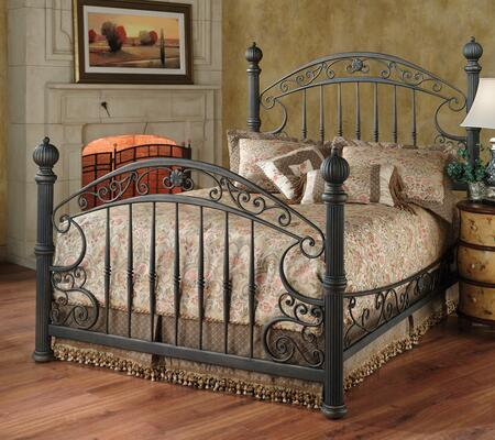 Hillsdale Furniture 1335BR Chesapeake Poster Bed Set with Rails Included, Scrollwork, Metal Construction, Imposing Posts and Finials in Rustic Old Brown Finish