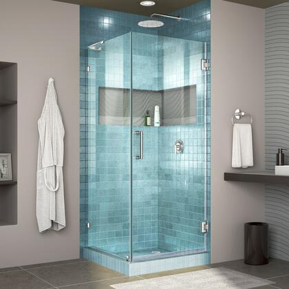 Unidoor Lux Shower Enclosure RS30 30D 30RP 01 Blue Tile