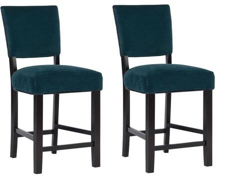 Powell Raya Collection 15BO7165XSX Set of (2) Stools with Fabric Upholstery, Straight Legs and Stretchers in Sea Glass