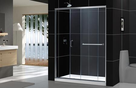 DreamLine DL-697 DreamLine Infinity-Z Frameless Sliding Shower Door and SlimLine Single Threshold Shower Base in