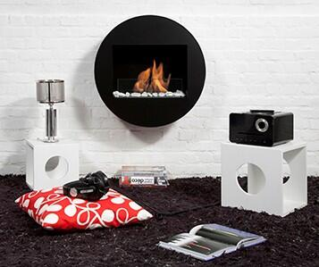Bio-Blaze BB-QWA Qwara Bio Ethanol Fireplace with Adjustable Burner, 6824 BTU Heat Capacity, Hanging system, Funnel, Marble Stones, Lighter and Extinguish Tool