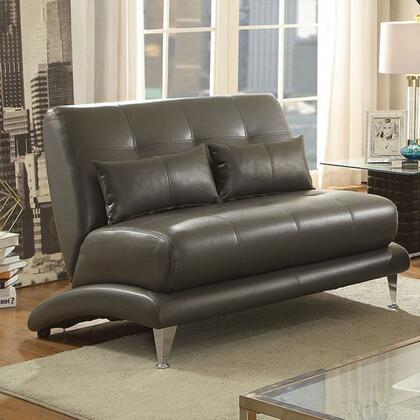 Furniture of America Sherri CM6413XX-LV Loveseat with Stitching Details, Chrome Legs and Breathable Leatherette Upholstery in