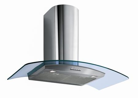 """Futuro Futuro WLMOONCRYS x"""" Moon Crystal Wall Range Hood offers 940 CFM, 4-Speed Electronic Controls, Delayed Shut-Off, Filter Cleaning Reminder, and in Stainless Steel"""