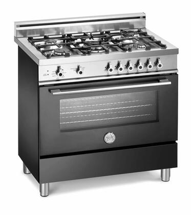 Bertazzoni X366GGVNELP Professional Series Gas Freestanding Range with Sealed Burner Cooktop, 3.6 cu. ft. Primary Oven Capacity, Storage in Black