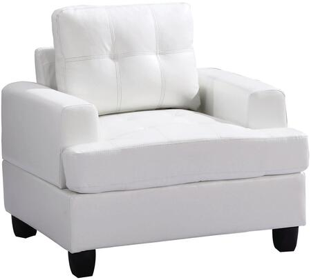 Glory Furniture G587AC Bycast Leather Armchair in White
