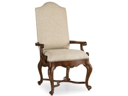 """Hooker Furniture Adagio Series 5091-755 49"""" Traditional-Style Dining Room Upholstered Chair with Cabriole Legs, Nail Head Accents and Fabric Upholstery in Brown"""