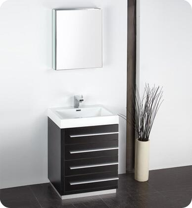 "Fresca Livello Collection FVN8024 24"" Modern Bathroom Vanity with Medicine Cabinet, Soft Closing Drawers and Integrated Acrylic Countertop & Sink in"