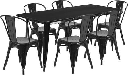 Flash Furniture ETCT005630BKGG Rectangular Shape Patio Sets