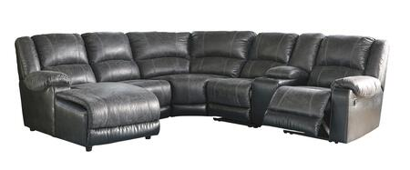 Signature Design by Ashley Nantahala 503016PCSEC 6PC Sectional Sofa with X Chaise, Armless Chair, Wedge, Armless Recliner, Storage Console and X Zero Wall Recliner in Slate