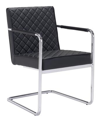 """Zuo 10019 Quilt 34"""" Dining Chair with Arms, Chromed Steel Frame and Soft Leatherette Upholstery"""