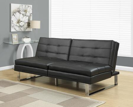 "Monarch I 89XX 70"" Futon with Chrome Metal Feet, Adjustable Back and Tufted Detailing"