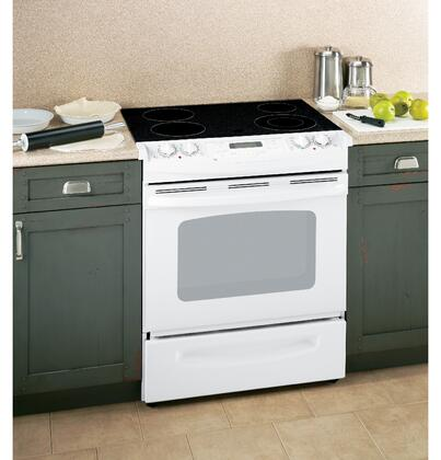 GE JSP42DNWW CleanDesign Series Slide-in Electric Range with Smoothtop Cooktop Storage 4.4 cu. ft. Primary Oven Capacity