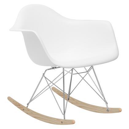 EdgeMod EM121WHI Rocker Series  Wood and Metal Frame Rocking Chair