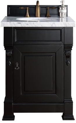 "James Martin Brookfield Collection 147-114-V26-AQB- 26"" Antique Black Single Vanity with One Soft Closing Door, Backsplash, Hand Carved Filigrees and"