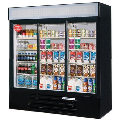 "Beverage-Air LV66Y-1 LumaVue 75"" Three Section Refrigerated Glass Door Merchandiser with LED Lighting, 70 cu.ft. Capacity, [Color] Exterior and Bottom Mounted Compressor"