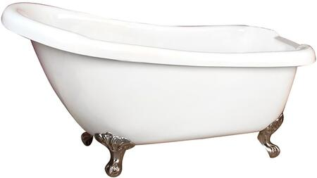 "Barclay ATS7H66IWH Huxley 66"" Acrylic Slipper Bathtub in White with 43 Gallon Capacity, Sloped Back, 7"" Centers, and Imperial Feet Finished in:"