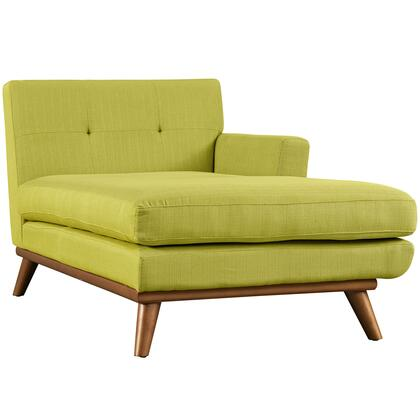 """Modway Engage Collection 69.5"""" Right Arm Chaise with Tufted Back, Plastic Foot Glides, Cherry Stained Rubberwood Legs and Fabric Upholstery in"""