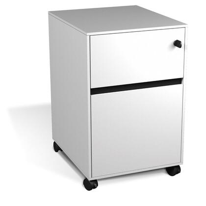 """Unique Furniture 400 Collection 17"""" File Cabinet with 2 Drawers, Mobile Pedestal, Legal/Letter Size Filing, Commercial Grade and High Pressure Melamine Material in"""
