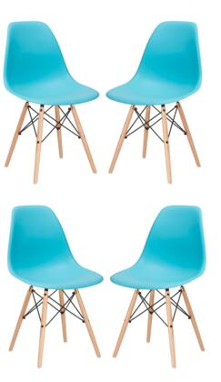 """EdgeMod Vortex Collection 21"""" Set of 4 Side Chairs with Plastic Non-Marking Feet, Beech Wood Tapered Legs and Polypropylene Plastic Seat"""