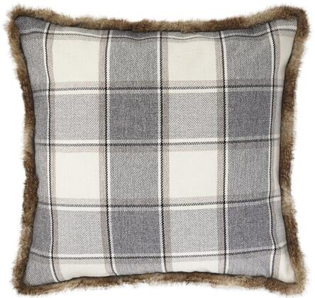 """Milo Italia Damian P187913MPTM Set of 4 20"""" x 20"""" Pillows with Faux Fur Trim, Plaid Design and Polyester Cover in"""