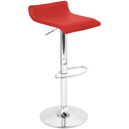 """LumiSource Ale BS-TW-ALE 25"""" - 34"""" Barstool with 360-Degree Swivel, Leatherette and Chrome Base in"""