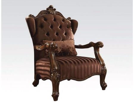 Acme Furniture 52082 Versailles Series Velvet Armchair with Wood Frame in Brown