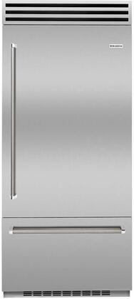 """BlueStar BBB36x2 36"""" Built In Bottom Freezer Refrigerator with Stainless Steel Interior, Dual Compressors, Ice Maker, LED Lighting and OLED Touchscreen Control"""