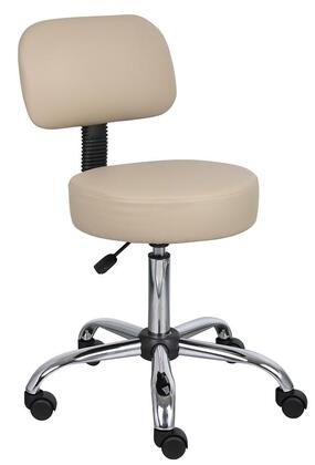 """Boss B245 35"""" Caressoft Medical Stool with Back Cushion, Adjustable Seat Height, Dual Wheel Casters and Chrome Base"""
