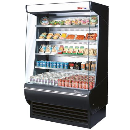 Turbo Air TOMDXSF Extra Deep Display Merchandiser with Automatic Condenser Cleaning System, Advertising Panel, Anti-Rust Coating, Stainless Steel Front Panel, Back-Guard and Glass Sides: Black