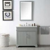 """Legion Furniture WH7736Y 36"""" Sink Vanity with Quartz Top, Rectangle Ceramic Sink and 3 Pre-Drilled Faucet Holes"""