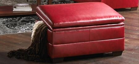 Simmons Upholstery 9515095SOHOCARDINAL Soho Series Contemporary Blended Leather Wood Frame Ottoman