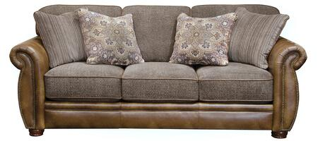 "Jackson Furniture Pennington Collection 4439-03- 90"" Sofa with Chenille Fabric Upholstery, Bun Feet and Nail Head Accents in"
