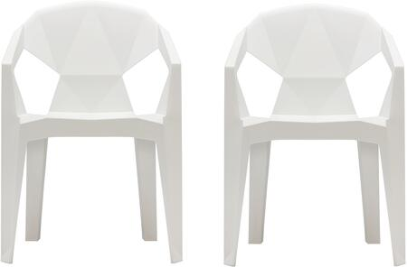 "Vifah Set of 2 32"" 3D Stacking Chair with Draining Hole, Angular Back Design, Tapered Legs, Indoor/Outdoor Use and Polypropylene Resin Material in"