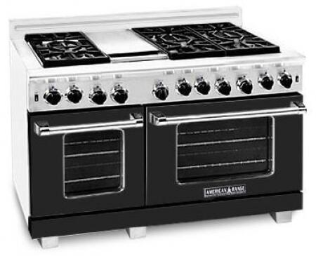 American Range ARR486GDLBK Heritage Classic Series Dual Fuel Freestanding Range with Sealed Burner Cooktop, 4.8 cu. ft. Primary Oven Capacity, in Black