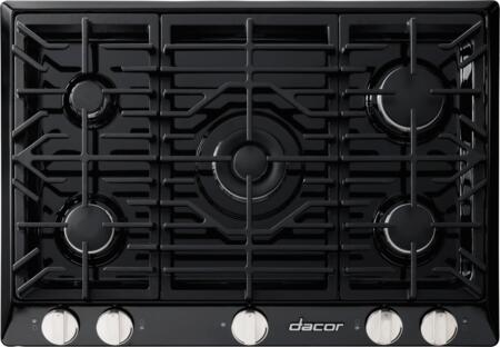 """Dacor RNCT305G 30"""" Renaissance Gas Cooktop with 5 Sealed Burners, Die Cast Knobs, Perma-Flame Technology, Continuous Grates, and Smart Flame Technology:"""