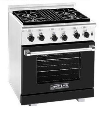 American Range ARR304LBK Heritage Classic Series Liquid Propane Freestanding Range with Sealed Burner Cooktop, 4.8 cu. ft. Primary Oven Capacity, in Black