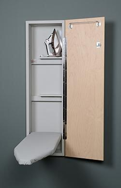 """Iron-A-Way NE-42 42"""" Built-In Non-Electrical Ironing Center with Hot Iron Storage, Storage Shelf, Ironing Board Cover and Pad:"""