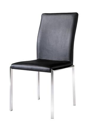 Armen Living LCVESIX 2 Vengo Side Chairs with Sleek Modern Design, Stainless Steel Legs and Leatherette Upholstery Finish in