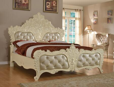 Meridian Novara NOVARA-X Bed with Elegant French Provincial Crafted Design, Crystal Tufting and Silver Accents in Pearl White