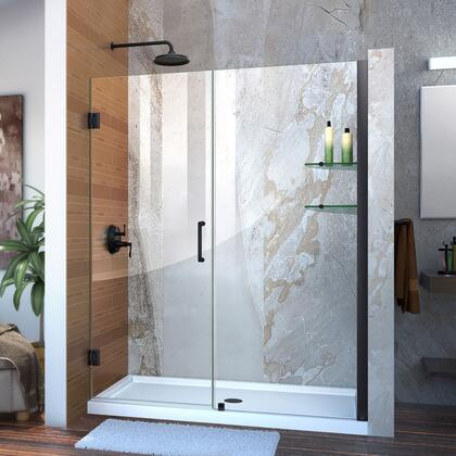 Unidoor Shower Door with Base 12 28D 30P glass shelves 09 72 WM 11 16