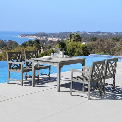 Vifah Renaissance Collection PC Outdoor Dining Set with Rectangle Table, Armchairs, Umbrella Hole and Hand-Scraped Acacia Hardwood in Grey Finish
