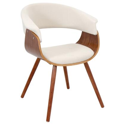 "LumiSource Vintage Mod CHR-JY-VMO WL 20"" Chair with Fabric Upholstery, Walnut Wood Frame and Open Backrest in"