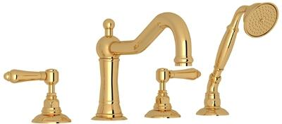 Rohl A1404LM Country Bath Collection 4-Hole Deck Mount Column Spout Tub Filler with Metal Levers: