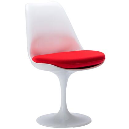 "EdgeMod Daisy Collection 21"" Side Chair with Swivel Base, Plastic Seat, Aluminum Pedestal Base and Fabric Covered Cushion"
